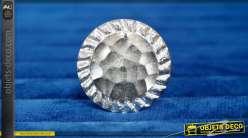 Bouton de meuble en métal finition brillante, forme d'ancienne pièce de monnaie esprit martelé, Ø4cm