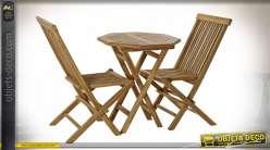 TABLE SET 3 TECK 60X60X75 2 CHAISES NATUREL MARRON
