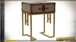 TABLE AUXILIAIRE MÉTAL PU 45,5X36X59,5 MARRON