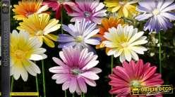 Série de 6 fleurs en métal à ficher dans le sol, finitions colorées et pétillantes esprit bouquet éternel, 58cm