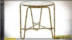 TABLE AUXILIAIRE MÉTAL VERRE 51X51X52 MARRON