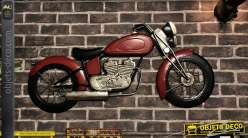 Grande moto murale en métal, finition noir charbon, alu brossé et rouge sang, ambiance bikers motards, 100cm