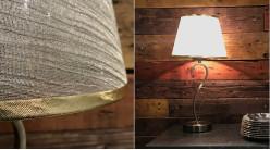 Lampe de salon ou de chevet en métal bronze cuivré et abat-jour en tissu blanc et doré 51 cm