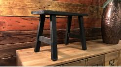 Mini tabouret décoratif en bois finition usée, modèle noir charbon de style rustique, 40cm