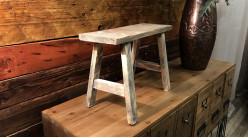 Mini tabouret décoratif en bois finition usée, modèle brun vieilli de style rustique, 40cm