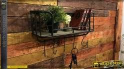 Etagère murale en bois et métal avec crochets de suspensions, finition noire et brute, 60cm