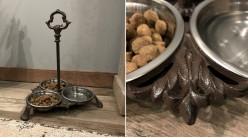 Gamelle originale pour animaux en fonte finition brun ancien, 3 bols inox de 0,5L, 37cm