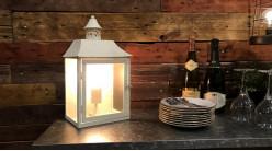 Lampe de table en métal et verre en forme de lanterne, finition crème vieillie, ambiance maison de campagne, 40cm