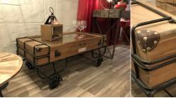Table basse en bois et métal esprit wagonet minier, plateau en verre pour expo de miniatures, ambiance rustico indus, 123cm