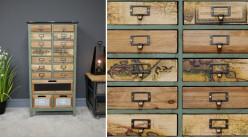 Meuble d'appoint en bois de sapin de style atelier vintage, 17 tiroirs avec impressions de cartes en façades, 108cm