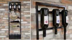 Support en métal pour rangement et exposition de bouteilles de vin, espace verres ajouré en partie basse, ambiance indus noire, 120cm
