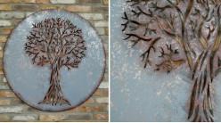 Grande décoration murale ronde en métal avec arbre de vie découpé au centre, finition brunie oxydée, Ø100cm