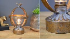 Luminaire d'appoint en métal et verre, ampoule en cage sphérique finition vieux doré, Ø13cm