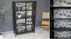 Vitrine d'appoint en métal et portes vitrées, 4 niveaux de rangement, finition noir charbon et fond imprimé safari, 132cm