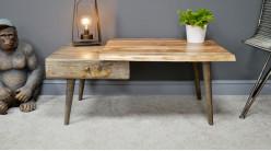 Table basse en bois d'acacia et bois de manguier massif, richement veiné et texturé, double tiroir, 100cm