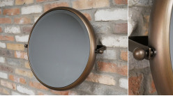 Miroir de salle de bain inclinable de forme ronde, finition brun noisette aux reflets cuivrés, glace biseautée, Ø53cm