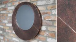 Miroir mural avec gros encadrement en métal, esprit géométrie moderne, finition mauve métalisé et vieilli, Ø65cm