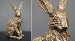 Représentation en résine d'un lapin sauvage, finition effet métal doré patiné ancien, ambiance campagne chic, 35cm
