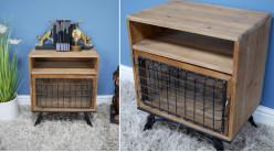 Table de chevet en bois et métal de style rustique, une porte vitrée grillagée et un tiroir de rangement, ambiance vielle ferme, 56cm