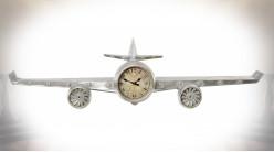 Horloge-étagère en forme de vieil avion d'exploration finition grise vieillie, 101cm