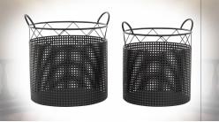 Série de deux corbeilles de rangement en métal noir ajouré, 44cm