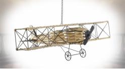 Avion bi-plan à suspendre en métal et rotin synthétique finition beige ambiance voyageur, 78cm