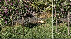 Banc de jardin en métal esprit fer forgé, finition chocolat noisette effet vieilli, modèle Angela, 112cm
