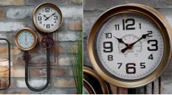 Horloge murale en métal en forme de circuit de plomberie, vanne et nanomètre, finition charbon et laiton brossé, 56cm