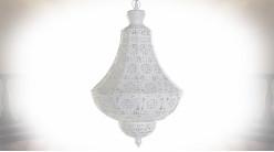 Suspension luminaire en forme de montgolfière finition blanc laqué esprit moucharabieh, 108cm