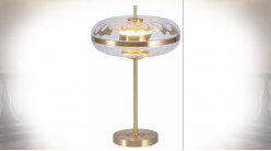 LAMPE DE TABLE VERRE MÉTAL 35X35X55 TRANSPARENT