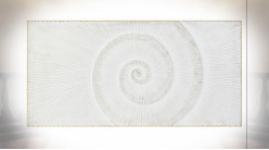 Tête de lit en bois finition blanche, spirale en relief ambiance bord de mer, 160cm
