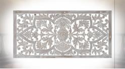 Tête de lit en bois scultpé finition naturelle blanchie ambiance oriental, 160cm