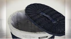 Série de 5 corbeilles de rangement et à linge en osier finition bleu nuit, 77cm