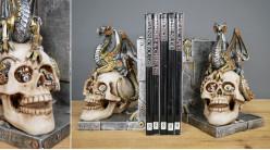 Paire de serre-livres de style gothico-steampunk avec représentations de cranes humains et de dragons, 20cm