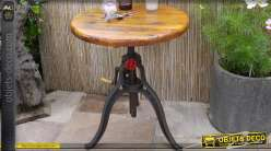 Table à crémaillère ronde bois massif et métal style industriel