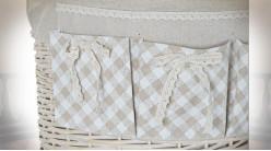 Série de 3 corbeilles à linge en osier finition beige ambiance campagne chic, 55cm