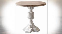 Table ronde en sapin vielli patine blanche Ø 80 cm