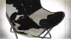 Fauteuil papillon en métal et peau de vache naturelle noir et blanc 90 cm