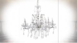 Grand lustre à pampilles blanc à 8 feux de style néo baroque Ø 64 cm