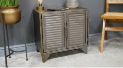 Meuble d'appoint à deux portes en métal, finition anthracite oxydée ambiance vieux vestiaire, 55cm