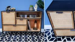 Meuble de rangement type buffet moderne à casiers, ambiance bois et métal contrasté avec façades effet rotin tressé, 120cm