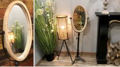 Miroir sur pied en métal et encadrement en bois, ambiance vieil atelier, forme ovale inclinable, finition effet vieilli, 154cm