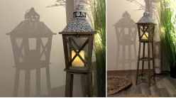 Lanterne sur pied en bois et verre, ambiance cabane sur pilotis, finition effet vieilli, ambiance bord de mer, 93cm
