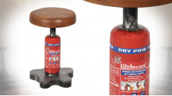 Tabouret en avec pied en extincteur, déco de style indus vieil atelier, assise rembourée effet vieux cuir d'époque, Ø30cm