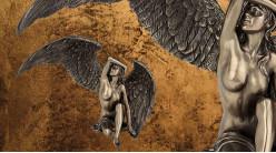 Dénudée et féerique, représentation d'un ange féminin tombé du ciel, en résine finition bronze reflets dorés, collection Nudités, 24,5cm