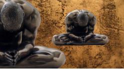 Respiration et méditation, représentation d'un homme en position du Lotus, en résine finition vieux bronze, collection Nudités, 13cm