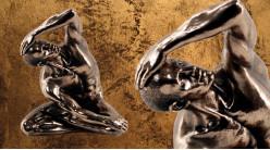 Sport et musculature, représentation d'un homme assis au sol en séance d'échauffement, en résine finition dorée bronze, collection Nudités, 22cm