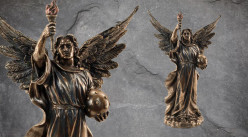 Archange Jophiel, représentation de l'ange de l'art et de la beauté en résine, finition laiton vieilli, collection Terre des Dieux, 34cm