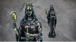 Santa Barbara, représentation de la sainte martyre Barbe en résine, finition bronze effet oxydé, collection Terre des Dieux, 20cm