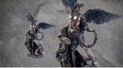 Archange Saint-Michel, représentation du chef des forces du ciel sur démon au sol, en résine finition bronze laiton, collection Terre des Dieux, 26cm